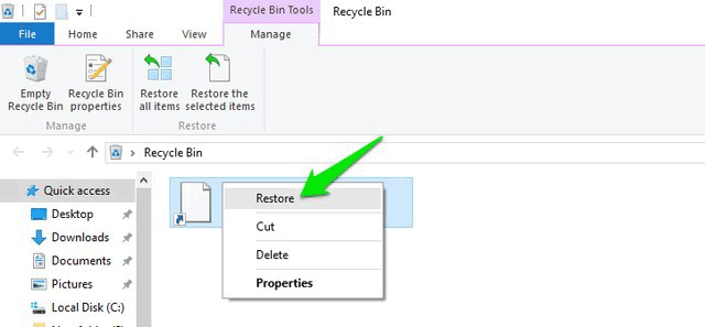 recover deleted files in windows 10 recycle bin
