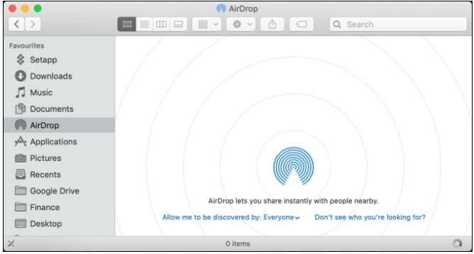 airdrop not showing up on mac