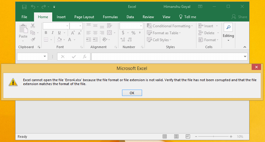 excel cannot open the file because the extension is not valid windows 10