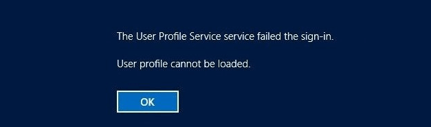user profile cannot be loaded windows 10 after update
