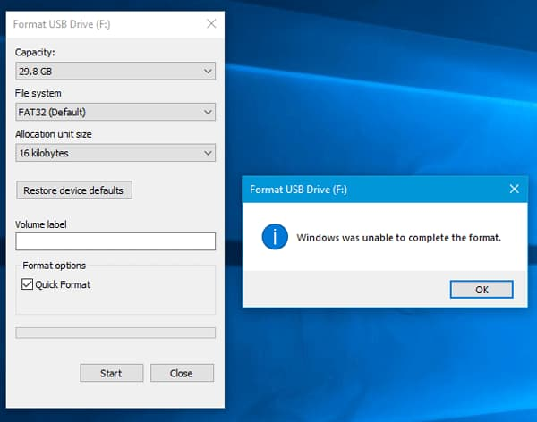 windows 7 was unable to complete the format sd card
