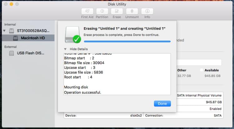 mac os x format external hard drive command line