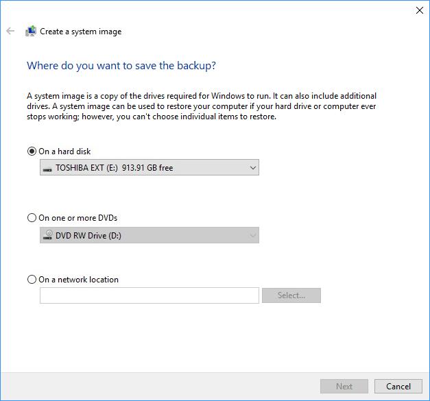 windows 10 backup pc to external hard drive