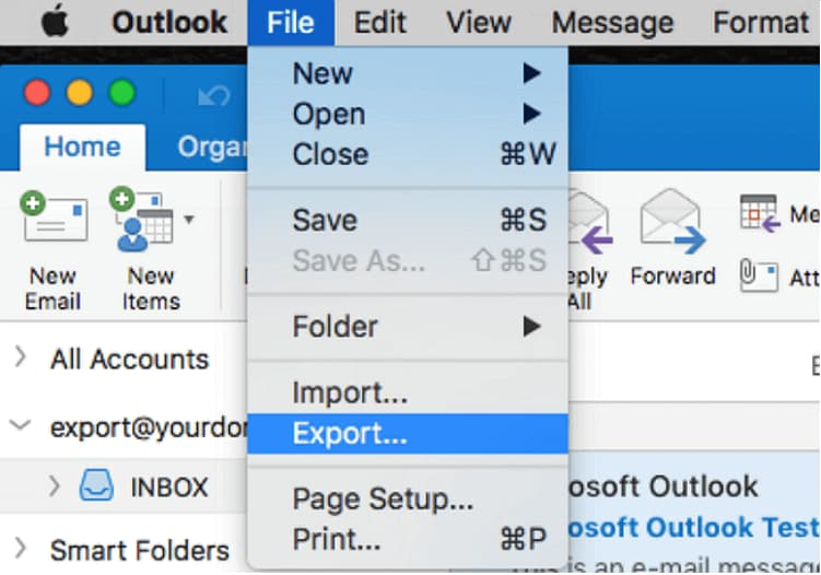 how to take outlook backup in mac os
