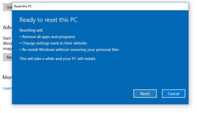 windows 10 reset lost files