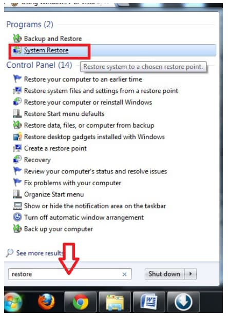 how to recover files after system restore Windows 7