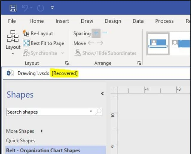 recover unsaved visio file