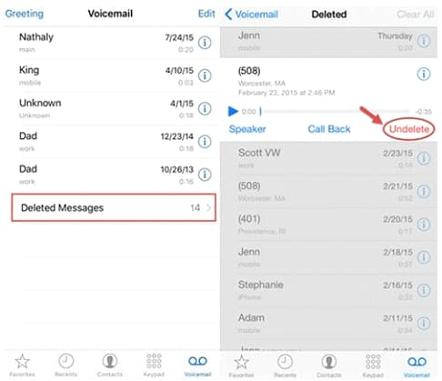 recover permanently deleted voicemail on iPhone