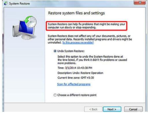 how to recover lost files after system restore Windows 7