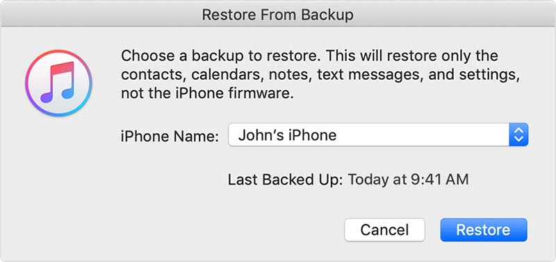 recover notes on backup