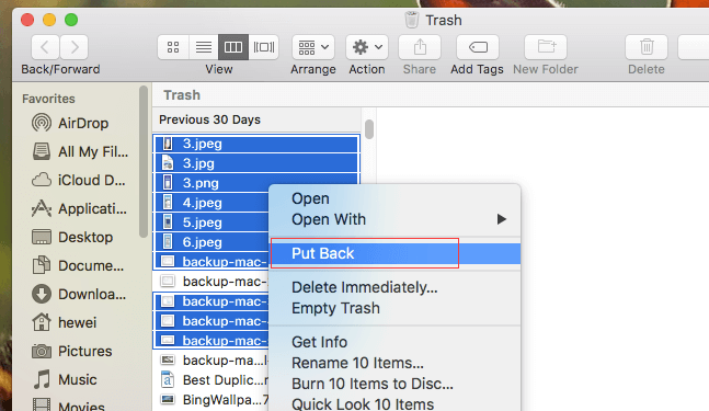 where is recently deleted files on mac