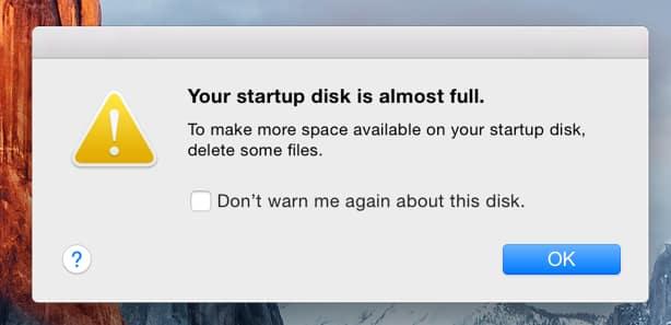 startup disk full mac