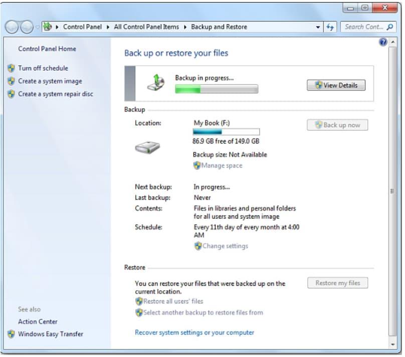 backup hard drive windows 7