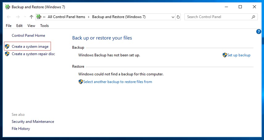 full system image backup windows 10